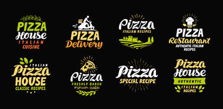 Vector pizza set icons, labels, symbols, signs, design elements Stock Photography