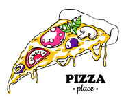 Vector Pizza slice drawing. Hand drawn doodle pizza illustration Royalty Free Stock Photo