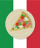 Vector pizza slice on the plate. Pizza slice on the plate flat style illustration ready for use Royalty Free Stock Images