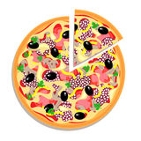 Vector pizza with sliced piece isolated on white Stock Photos