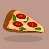 Vector pizza with tomato slices and mozzarella. Very high quality original trendy  vector pizza with tomato slices, mozzarella and basil Stock Photography