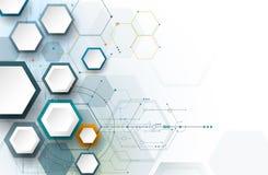 Vector a placa de circuito da ilustração e os hexágonos 3d de papel Fotografia de Stock