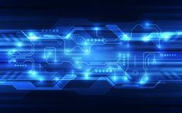 Vector a placa de circuito futurista abstrata, cor alta do azul da tecnologia digital da ilustração ilustração royalty free