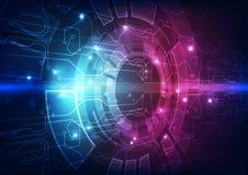 Vector a placa de circuito futurista abstrata, cor alta do azul da tecnologia digital da ilustração ilustração stock