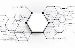 Vector a placa de circuito futurista abstrata na luz - fundo cinzento ilustração royalty free