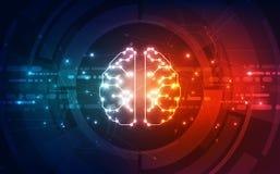 Vector a placa de circuito futurista do cérebro abstrato da inteligência artificial, fundo alto da tecnologia digital da ilustraç ilustração do vetor