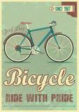 Vector Plakat mit dem Fahrrad in der Schmutzart Lizenzfreies Stockfoto