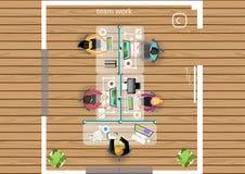 Vector Plan die Arbeit eines Geschäftstreffens, der Werkstätten und der Brainstormingideen für ein flaches Design des Vermarktung Lizenzfreie Stockbilder