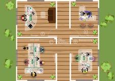 Vector Plan die Arbeit eines Geschäftstreffens, der Werkstätten und der Brainstormingideen für ein flaches Design des Vermarktung Stockfoto