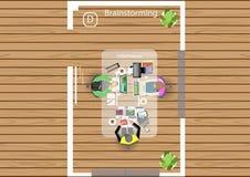 Vector Plan die Arbeit eines Geschäftstreffens, der Werkstätten und der Brainstormingideen für ein flaches Design des Vermarktung Stockfotos