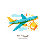 Vector plane and air travel logo, emblem design elements. Flying airplane in the sky, isolated doodle illustration. Royalty Free Stock Photography