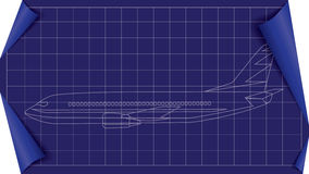 Vector plane blueprint. Vector airplane blueprint illustration with white lines Stock Image