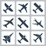 Vector plane icons set Stock Image