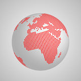Vector planet Earth globe with red squared map of continents Europe and Africa Royalty Free Stock Photography