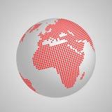 Vector Planet Erdkugel mit roter quadratischer Karte von Kontinenten Europa und Afrika stock abbildung