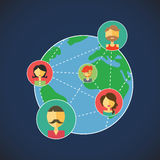 Vector Planeten, on-line-Kommunikation erlaubt Ihnen, sich mit Freunden auf der ganzen Welt zu verständigen Lizenzfreie Stockfotos