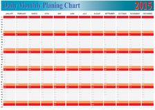 Vector of Planing Chart of All Daily Monthly Year 2015. The Vector of Planing Chart of All Daily Monthly Year 2015 Royalty Free Stock Photo