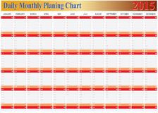 Vector of Planing Chart of All Daily Monthly Year 2015. The Vector of Planing Chart of All Daily Monthly Year 2015 stock illustration