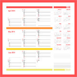 Vector planner for 2014 - April, May, June. Vector planner for 2014 -Three month calendar royalty free illustration