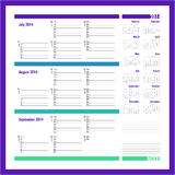 Vector planner for 2014 - July, August, September Royalty Free Stock Image