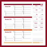 Vector planner for 2014 - October, November, December. Vector planner for 20134 -Three month calendar vector illustration
