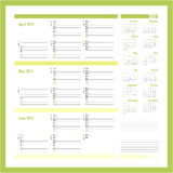Vector planner for 20134 -Three month calendar5 Stock Image