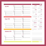Vector planner for 20134 -Three month calendar. Vector planner for 20134 - July, August, September 2015 Royalty Free Stock Photos