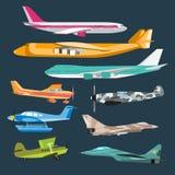 Vector plano de aire del passanger del viaje de la aviación civil Imágenes de archivo libres de regalías