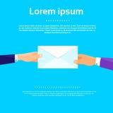 Vector plano de Hands Give Envelope del hombre de negocios Fotografía de archivo libre de regalías