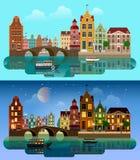 Vector plano de la ciudad europea: canal del río, puente, calle de los edificios Imágenes de archivo libres de regalías