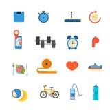 Vector plano de la forma de vida de los deportes de la dieta del uso sano del app Fotografía de archivo