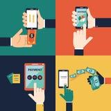 Vector plano de la mano del diseño para el concepto móvil de las actividades bancarias Imagenes de archivo
