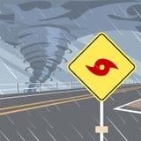 Vector plano de la señal de tráfico amonestadora del peligro del huracán ilustración del vector
