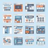 Vector plano de las ventanas del interfaz del sitio web Fotografía de archivo libre de regalías