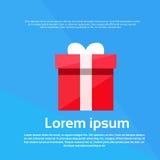 Vector plano de regalo del presente rojo de la caja Imágenes de archivo libres de regalías