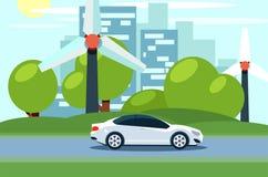 Vector plano de un coche eléctrico delante de las turbinas de viento horizonte de la ciudad en el fondo ilustración del vector