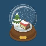 Vector plano del árbol de la nieve de la Feliz Navidad de la bola de cristal isométrico ilustración del vector