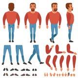 Vector plano del constructor barbudo del hombre para la animación Imagenes de archivo