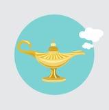 Vector plano del diseño de la lámpara mágica de oro Foto de archivo