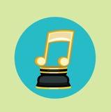 Vector plano del diseño de la música del trofeo de oro de la nota ilustración del vector