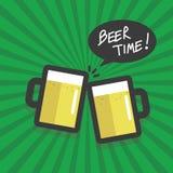 Vector plano del diseño del tiempo de la cerveza Imagenes de archivo