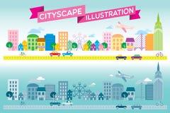 Vector plano del estilo del icono colorido y monótono del paisaje urbano Fotografía de archivo