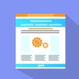 Vector plano del icono de la página del sitio web de Internet Imágenes de archivo libres de regalías
