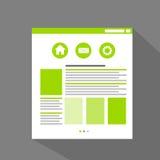 Vector plano del icono de la página del sitio web de Internet Fotografía de archivo