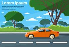 Vector plano del paisaje del camino de la impulsión del coche stock de ilustración