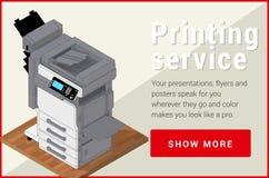 Vector plano isométrico 3d de la impresora de la copiadora Imagenes de archivo