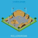 Vector plano isométrico del rollerdrome del parque del patín de Skatepark BMX Imagen de archivo libre de regalías