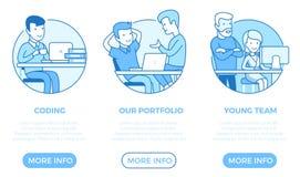 Vector plano linear de la plantilla del diseño web de la página Busin stock de ilustración