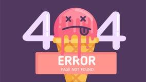 vector plano no encontrado de la página del error del helado 404