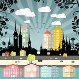 Vector plano retro de la ciudad del diseño Imágenes de archivo libres de regalías